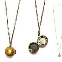 Vintage Brass Ball Globe Photo Locket Necklace