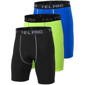 Yuerlian US Local Delivery 3 PCS Quick Dry Gym Sports Crossfit Men Football Trousers Jogging Compression Tight Running Shorts