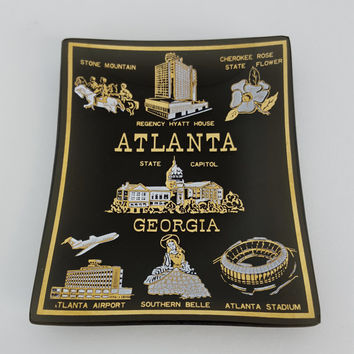 Vintage Glass Tray Atlanta Souvenir, Black Gold Glass Key Dish, Black Gold Key Tray, Atlanta Georgia Souvenir, Glam Chic Decor, Metallic