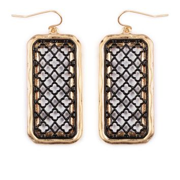 Rectangular Filigree Design Earrings