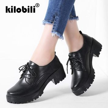 kilobili 2018 Spring Women Oxfords Shoes Female Genuine Leather Lace Up Middel Heel Shoes Round Toe Casual Ladies shoes pumps