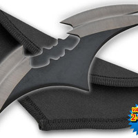 "1-Z-1014-2  5.5"" Two Piece Two-Toned Bat Throwing Blades - Black knife knives batman ninja Comes with a nylon case. Black with Silver edges."
