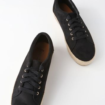Shannon Black Suede Espadrille Sneakers