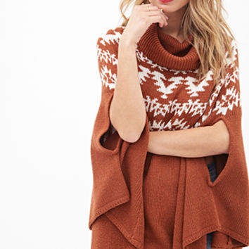 LOVE 21 Cowl Neck Poncho Sweater Rust/Cream