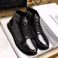 Versace Men's Gloss Leather Fashion High Top Sneakers Shoes