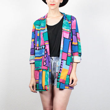 Vintage 1980s Blazer Jacket New Wave Rainbow Color Block Abstract Print Boyfriend Blazer Mod 80s Oversized Boxy Sport Coat Jacket L Large