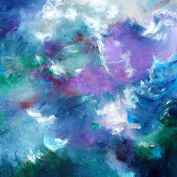 "Acrylic Abstract Seascape Painting, Purple, Blue, Expressionist, Expressionism, Gestural, Intuitive, ""Tempest at Sea"""