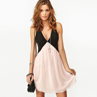Deep V-Neck Cutout Back Two Toned Chiffon Mini Dress