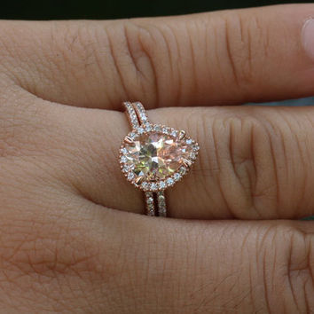 14k Rose Gold 10x7mm Morganite Pear Engagement Ring and Diamond Wedding Band Set (Choose color and size options at checkout)