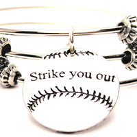 Strike You Out Softball Baseball Triple Style Expandable Bangle Bracelet