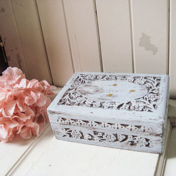 Paris Grey Ornate Jewelry Box, Shabby Chic Carved Wooden Jewelry Holder, Light Gray Blue Distressed Trinket Box, Bridesmaid Gift