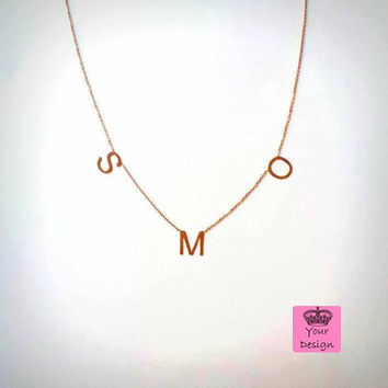 3 İnitial Letter necklace / Sterling Silver Sideways initial Necklace / Alphabet Necklace / / Multiple Letter Necklace / Mother's Day Gifts