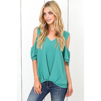 Fashion Green Cold Shoulder V Neck Sewn Hem Blouse