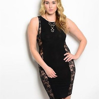 Plus Size Sexy Lace Side Scuba Bodycon Dress
