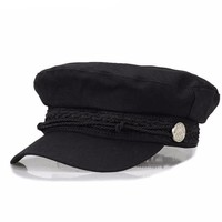 Black Retro Newsboy Cap