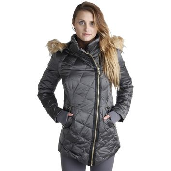 Steven By Steve Madden Womens Quilted Faux Fur Jacket