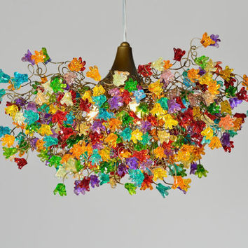 Ceiling lamp. rainbow color jumping flowers.