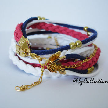 Red - Blue Suede Cord Double Wrap Bracelet,WIth Gold Accents,Handmade jewelry