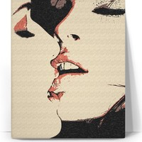 Girls love canvas art print, sexy women kissing, lesbian artwork, red, black and beige