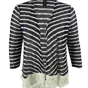 Style & Co. Women's Striped Lace Hem Cardigan Sweater