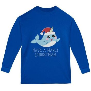 CREYCY8 Narwhal Have a Narly Gnarly Christmas Youth Long Sleeve T Shirt