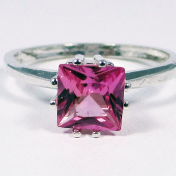 Princess Cut Pink Sapphire Ring Sterling Silver, September Birthstone Ring, Square Cut Pink Sapphire Ring, Princess Cut Ring, 925 Ring