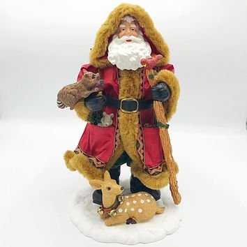 Natural Santa Figure With Forest Animals Christmas