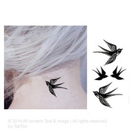 Swallow, Bird_ - Temporary Tattoo T136