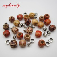 50Pcs/Lot mix wooden metal hair braid dread dreadlock beads rings cuffs
