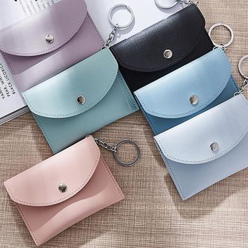 Women PU Leather Small Clutch Keyring Wallet Card Holder Purse Button Coin Bag