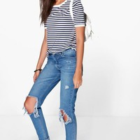 Tall Jenny Open Knee Slim Leg Boyfriend Jean | Boohoo