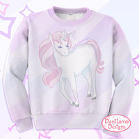 Pastel Unicorn Sweater Kawaii Unicorn All-Over Print Sweatshirt Fairy Kei Pastel Unicorn Jumper Pastel Goth Size XS Through 3XL