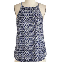 Mid-length Sleeveless Scallop the Ante Top