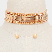 "13"" gold mesh chain choker collar necklace .25"" earrings 1"" wide"