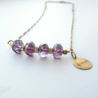 Radiant Orchid Swarovski Necklace Dream Charm Necklace Purple Tamikaalceedesigns