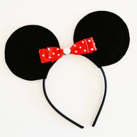 Minnie Mouse Inspired Ears, Minnie Mouse Headband, Mickey Ears Headband, Birthday Party Favors, Disney Vacation Accessory