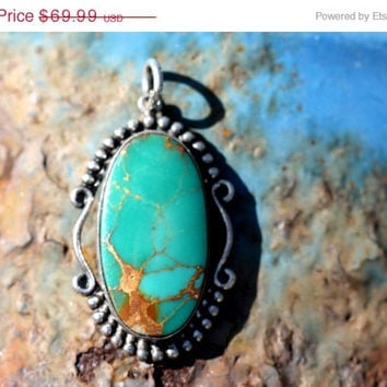 36% OFF SALE Sterling Silver Turquoise Pendant Bell Trading Post