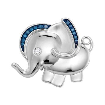 Sterling Silver Womens Blue Color Enhanced Diamond Elephant Charm Pendant 1-10 Cttw