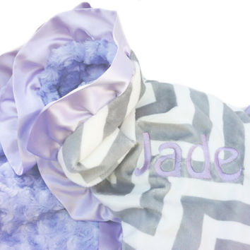 Stroller Size Gray and White Chevron Minky Baby Blanket with Lavender Swirl Minky back and Satin Ruffle Trim