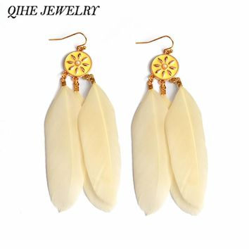 QIHE JEWELRY Long Beige Feather Earrings Statement Earring Festival Accessories Boho Wedding Jewelry Feather Jewelry