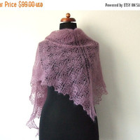 PRE XMAS SALE dark rose lace shawl, triangle bridal cover up, cozy mohair scarf