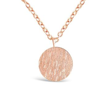 Rose Gold Simple Round Plate Necklace