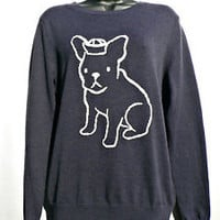 NWOT Joe Fresh SAILOR DOG Crewneck SWEATER Cute Bulldog NAVY BLUE Womens Size M
