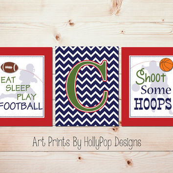 Boys Room Art Prints Sports Wall Decor Boys Nursery Personalized Wall Art Football Basketball Wall Decor Nursery Decor Athletic Wall Art