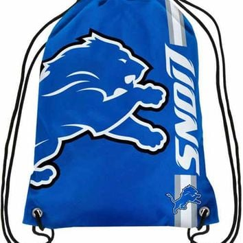 Detroit Lions Polyester Fabric Men Drawstring Backpack Buggy Bags Digital Printing Pouch 35*45CM Sports Fan Flag