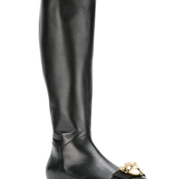 DCCKIN3 Gucci Pearl And Gem Embellished Calf Length Boots