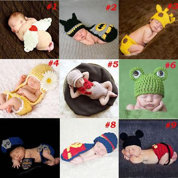 Baby Newborn Photography Props Costume Hand Crochet Knit Infant Beanie Hat with Cape Animal Design Wing Batman Policeman SG040