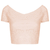 Lace Bardot Crop Top - Cropped Tops - Tops - Clothing - Topshop