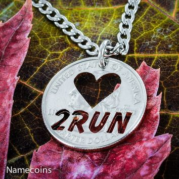 Love 2 Run necklace, Runner to the Core jewelry, hand cut coin