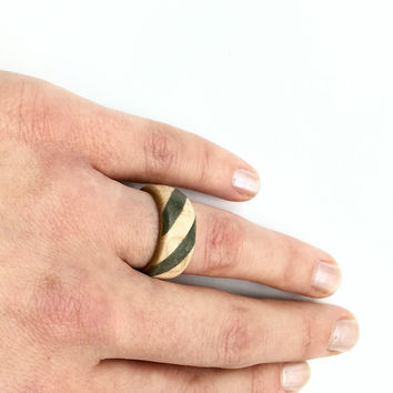 Wooden ring with concrete inlay/wood ring/wood band/band/wedding rings/cement ring/concrete ring
